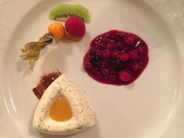 Poppy seed parfait and berry compote with rum